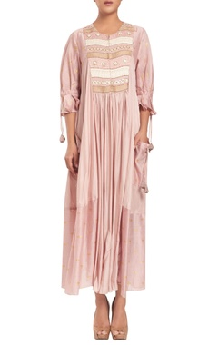 Rriso Chanderi silk hand embroidered dress with slip