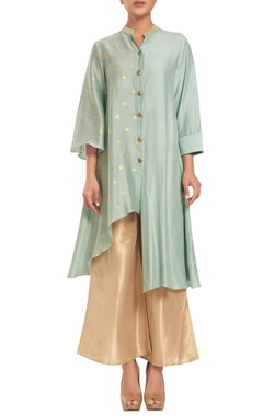 Rriso Chanderi & cotton silk button down tunic with palazzos