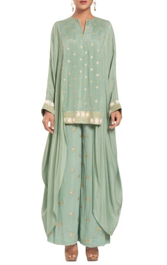 Rriso Chiffon & crepe silk embroidered high low tunic with pants