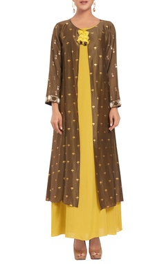 Rriso Chanderi silk sequin hand embroidered jacket with dress