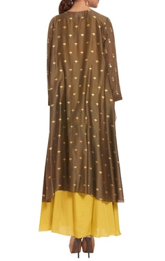 Chanderi silk sequin hand embroidered jacket with dress