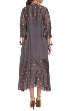 Chanderi silk hand embroidered dress with slip