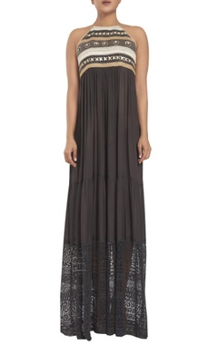 Rriso Halter dress with embroidered yoke