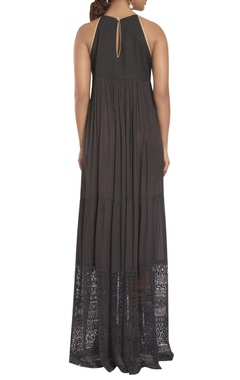Halter dress with embroidered yoke