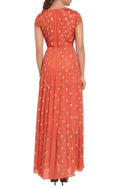 Crepe & chiffon machine embroidered maxi dress