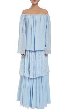 Rriso Georgette sequin work off-shoulder blouse & tiered skirt
