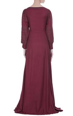 Peasant style pleated maxi dress