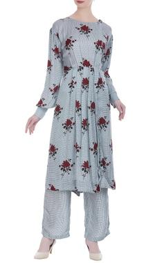Shruti Sancheti Floral & check printed gathered tunic with pants