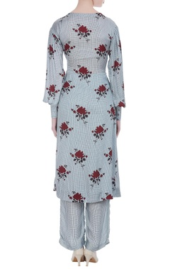 Floral & check printed gathered tunic with pants