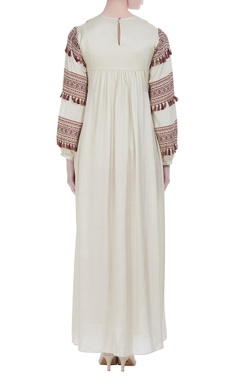 Peasant style embroidered maxi dress