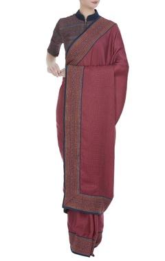Shruti Sancheti Block printed border sari with cutout back blouse