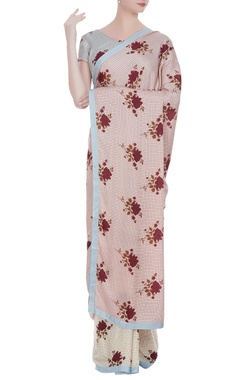 Shruti Sancheti Apple blossom printed sari with blouse