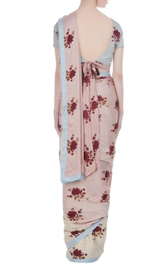 Apple blossom printed sari with blouse