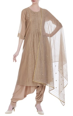 Earthy colored handloom chanderi dupatta