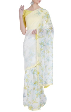 Vedika M Floral hand painted sari with unstitched blouse
