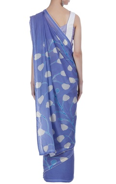 Hand dyed & hand painted sari with unstitched blouse