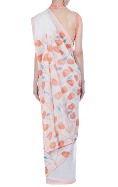 Tulip hand painted sari with unstitched blouse