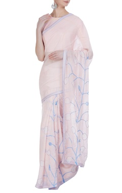 Vedika M Pastel tulip hand painted & embroidered sari with unstitched blouse