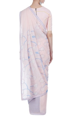Pastel tulip hand painted & embroidered sari with unstitched blouse