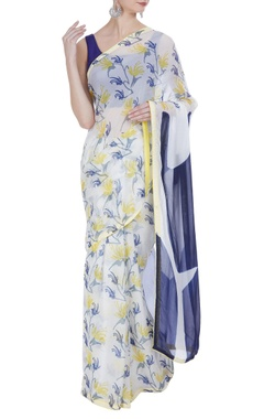 Vedika M Block printed & hand painted sari with unstitched blouse