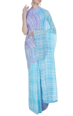 Vedika M Hand painted check sari with unstitched blouse