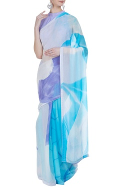 Vedika M Abstract hand painted sari with unstitched blouse