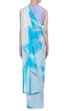Abstract hand painted sari with unstitched blouse