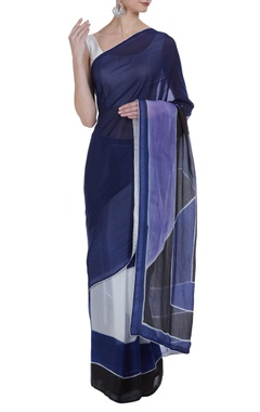 Vedika M Color-block hand painted sari with unstitched blouse