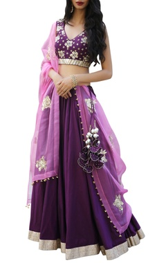 Ranian Embroidered blouse with lehenga and dupatta