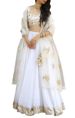 Ranian Zari embroidered blouse with lehenga and dupatta