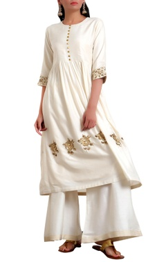 Ranian Sequin hand embroidered rose motif tunic with flared pants