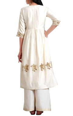 Sequin hand embroidered rose motif tunic with flared pants