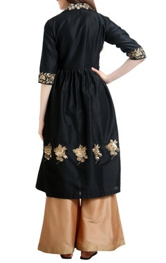Sequin hand embroidered gathered style tunic with flared pants