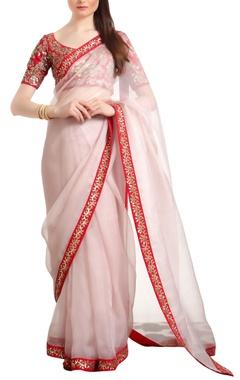 Ranian Organza silk sari with open back blouse