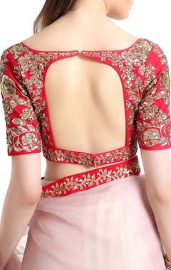 Organza silk sari with open back blouse