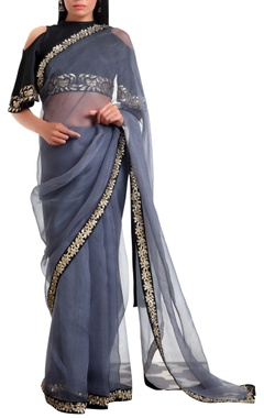 Ranian Organza silk sari with cold-shoulder blouse