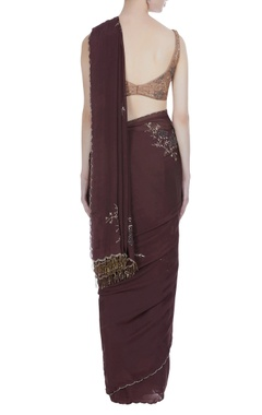 Sequin & bead embroidered sari with sleeveless blouse