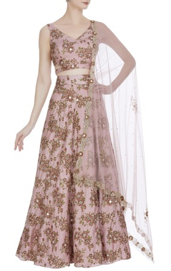 Floral crop blouse and lehenga set