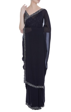 Chiffon sequin embroidered sari with blouse