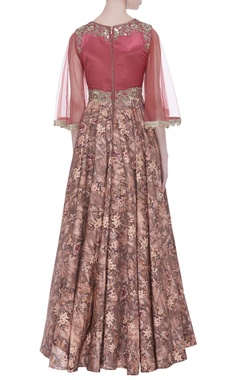 Floral printed gown with flared sleeves