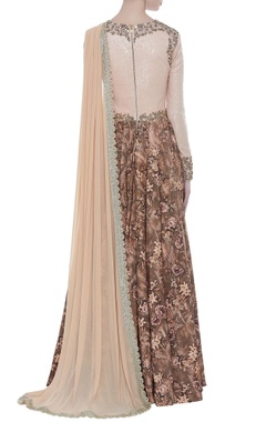 Sequin embroidered gown with drape