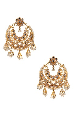 POSH By Rathore Kundan & faux pearl chandbali earrings