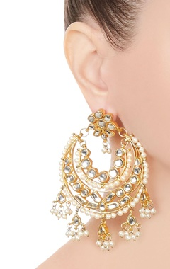 Kundan & faux pearl chandbali earrings