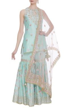 Chanderi silk sharara set with pink dupatta