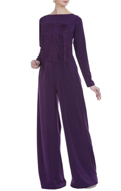 Long flared jumpsuit with fringe detail