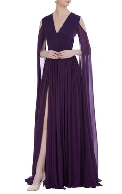 Flared sleeves floor length gown
