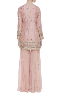Gota patti kurta with net sharara pants and dupatta