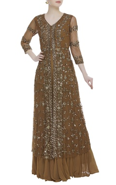 Embellished long kurta with sharara pants