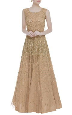Sequin embellished flared sleeveless gown