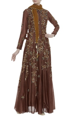 Chanderi sequin embroidered kurta with stole